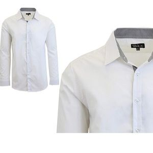 Galaxy Mens Long Sleeve Solid Slim Fit Dress Shirt